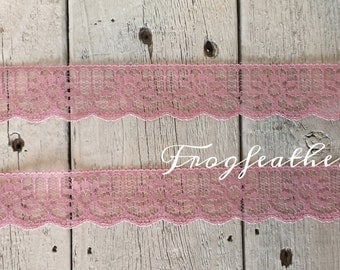 Lace Trim Lot -DUSTY PINK 1 1/8 inch 10 yards for 6.29