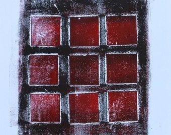 Collagraph Monoprint Nine Red Squares