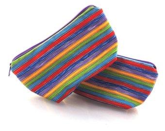 Bright Stripe Zippered Pouch