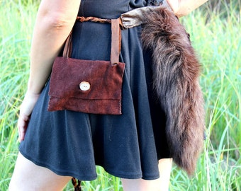 Real eco-friendly brown dyed fox tail belt pouch set with deer antler buttons for totemic dance, shamanic ritual, festival wear, more
