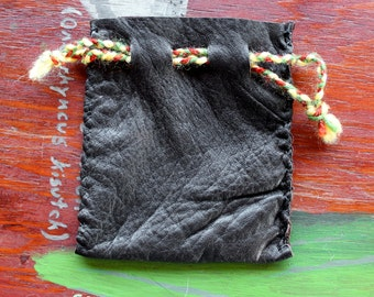 Recycled brown leather drawstring pouch bag for tarot runes dice