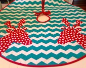 Modern Tree Skirt with Red Polka Dot Deer on Teal and White Chevron