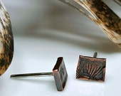 Copper Studs, Organic Tribal Sun Stamp, Men, Women, Post Earrings, Industrial, Darkened Patina, Symbols, Distressed, Sterling Silver