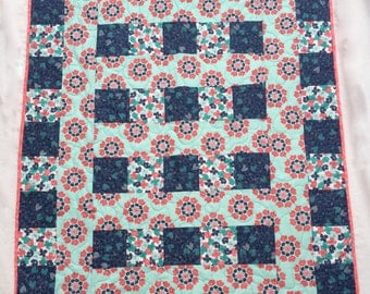 Lap Quilt, Baby Quilt, Modern Quilt,  40 inches Square, Quiltsy Handmade