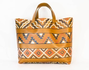 Farmers Market Tote - Unlined, Hand Painted Leather Tote VOZ X YWH-