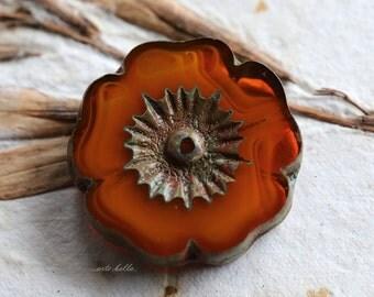 ORANGE BLOSSOMS .. NEW 1 Picasso Czech Glass Flower Beads 22mm (5247-1)