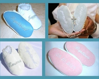 LEATHER  crib shoes -monogrammed infant baptism shoes , baby christening shoes, slippers , godson