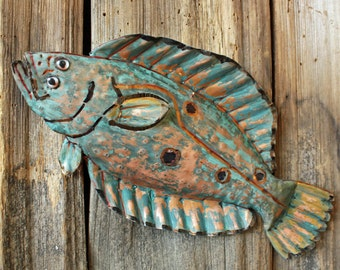 Flounder - copper fish sculpture  - with red-orange and blue patina - OOAK