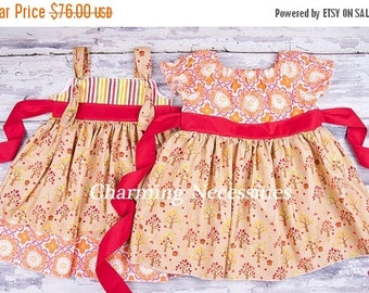 SALE Big Sister Little Sister Set, Sibling Outfits, Twins, Peasant Dress and Knot Dress by Charming Necessities Apple Harvest