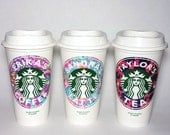 Starbucks Travel Cup - with custom Lilly Pulitzer inspired vinyl name