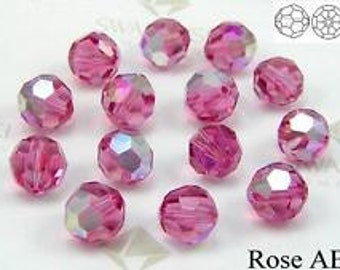 5mm Rose AB 5000 Round Bead, Swarovski crystal, Crystal Passions®, 5mm Rose AB 5000 - Pack of 6