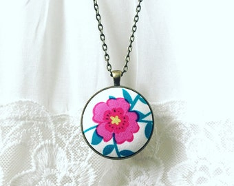 Handmade Fabric Pendant- Floral Style and Woodland Theme-Fushia Color-Statement Necklace, Mothers Day Jewelry, Mothers Day Gift