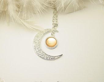 "Necklace ""Gealaí"" Celtic Moonlight Cristalized Golden"