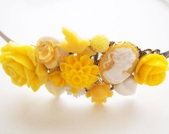 ON SALE Yellow Lady Cameo Cluster Headband  Kitsch Cute Bright Chunky Chic Fun OOAK