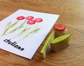 mini poppy hand carved stamp, handmade rubber stamp