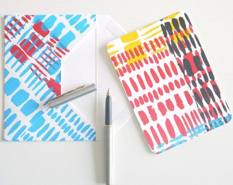 Handprinted & handmade one-of-a-kind flat notes and envelopes