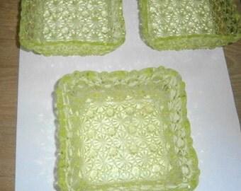URAINIUM GLASS, Dot and Daisy Pattern, Yellow, Florescent to Green, 3 pc Set,  3 pc Nut Dishes, Candy Dish, Beautiful Urainium Glass/Yellow