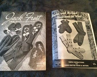 2 vintage knitting pattern books mittens and socks.