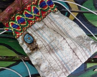 Hippie Backpack, Hippie Back Pack, hippie back sack, festival bag, boho back pack, drawstring back pack,  recycled fabric, small, D18,  hobo