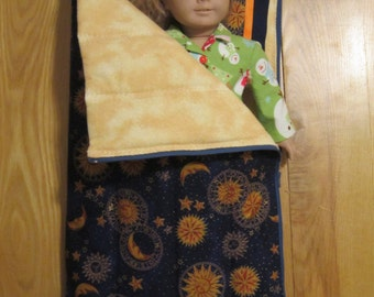 American Girl Doll size Sleeping Bag and Pillow Moons