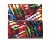 Art Photo Coasters Handmade Paper Red Colorful Striped Painted Batik Modern Abstract Manly Gift