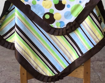 ON CLEARANCE...Green, Brown, Yellow and Blue Ploka Dot and Stripes Minky Blanket - Ready to ship