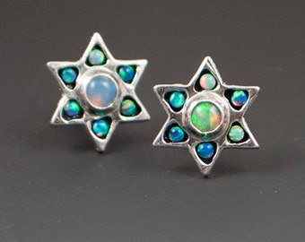 Opal Star Earrings