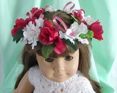 Flower Crown for American Girl 18 Inch Doll Flower Crown Red Roses White Pink Flower Crown Doll Summer Accessory Am Girl Doll Flower Crown