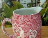 Victorian Chintz Burleigh Staffordshire England Red Rose Milk Pitcher  Cream Pitcher Flower Holder