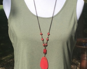 SALE Very long necklace with Red and Gold pendant necklace