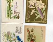 Easter vintage postcard, Easter Postcards Grab Bag # 52. Lot of 4 vintage postcards, Easter flowers, landscapes, crosses, egg shells
