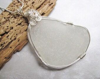 Large Sea Glass Pendant - Sea Glass - White Sea Glass - Unique Wire Wrap