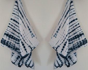Indigo Blue Shibori Style Flour Sack Tea Towels