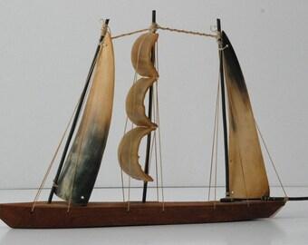 Vintage Bone Sail Boat Beach Folk Art