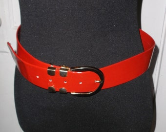 1960s Vintage Red Wide Patent Leather Belt 29 To 33 1/2 Inch Waist