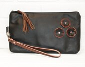 SALE large upcycled black leather wrist clutch, leather flowers, makeup bag, phone bag, travel, tablet cover, tassel, handmade, stacylynnc