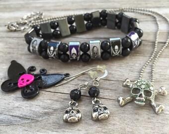 SKULLS DESTASH LOT Bracelet, Necklace & Earrings  in Silver, Black and Pink Ready to Wear