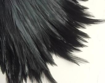 VOGUE Coque Hackle  Feather  / Darkest Crow Black  / HK - 01