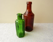"""Two Antique Glass Bottles: Green Glass Medicine Bottle """"Not To Be Taken"""" and Tomlinson & Co's Butter Colour Brown Glass Bottle"""