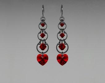 Red Swarovski Crystal Earrings, Siam Swarovski, Wedding Jewelry, Drop Earrings, Crystal Hearts,  Youniquely Chic, Crimson Progression