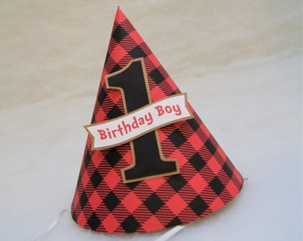 Buffalo Check Birthday Party Hat - Lumberjack Party, Red and Black Plaid Party