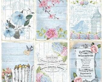 Blue & White Spring Collage Sheet