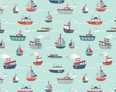 Clearance FABRIC Flannel FLY AWEIGH Boats on Blue by Riley Blake  1/2 Yard
