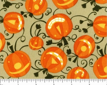 Clearance FABRIC HAPPY HALLOWEEN Pumpkins for Fall and more  1/2 Yard