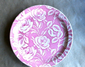 Vintage Wallace China Rose Plate Shadow Leaf Pink Rarely Seen Pattern Large Charger Size Restaurant Ware Dated October 1950