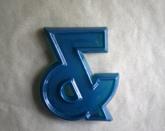 Vintage Store Signage Blue Fiberglass AMPERSAND & Sign Industrial Sign Wall Decor