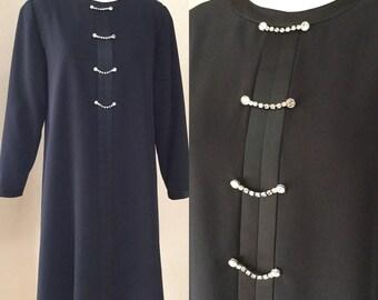 Black Vintage Cocktail Dress. A Line jeweled Evening Dress. Designer size 4