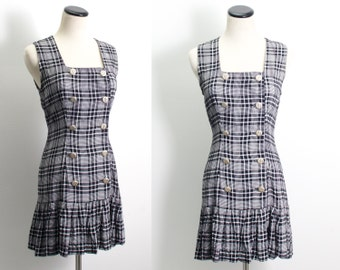 VTG 90's Plaid Schoolgirl Mini Dress (Medium) Black & White Check Drop Waist Sleevless Ruffled Double Breasted Button Up Goth
