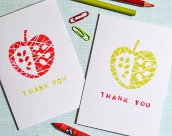 handprinted linocut apple thank you card