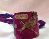 etched, metal, cuff, bird, be brave, cancer survivor, pink, woman's jewelry, woman's bracelet, handmade